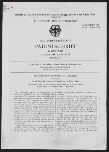BMW Geschwindigkeitswechselgetriebe für Fahrräder Patentschrift 1949