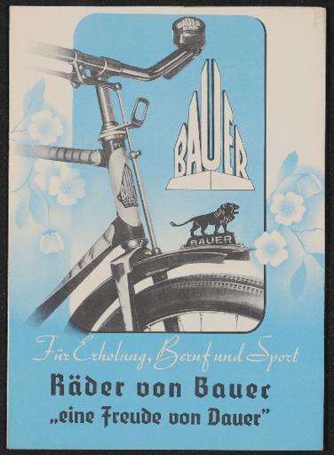 Bauer Räder Faltblatt 1930er Jahre