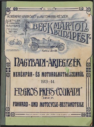 Beck Marton Budapest Fahrrad- Motorradteile Katalog 1913