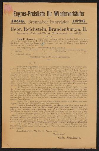 Brennabor Engros-Preisliste für Wiederverkäufer 1896