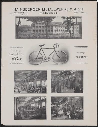 National Fahrräder Hainsberger Metallwerke Werbeblatt 1910er Jahre